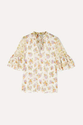 Alice + Olivia Alice Olivia - Julius Floral-print Cotton And Silk-blend Voile Blouse - Cream