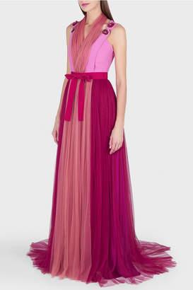 DELPOZO Sweetheart Tulle Overlay Maxi Dress