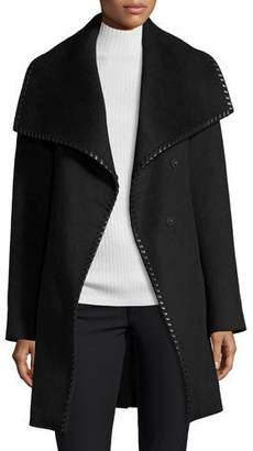 Elie Tahari Wool-Blend Wrap Coat w/ Whipstitched Leather Trim, Black