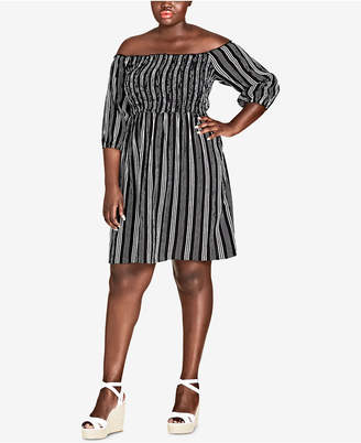 City Chic Trendy Plus Size Striped Off-The-Shoulder Dress