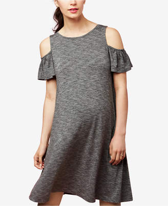 A Pea in the Pod Maternity Marled Cold-Shoulder Dress