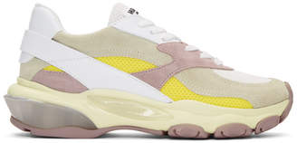 Valentino White and Pink Garavani Bounce Sneakers