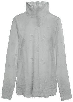 Ann Demeulemeester Embroidered Cotton-Tulle Turtleneck Top