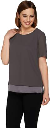 Halston H By H by Short Sleeve Layered Top with Hi-Low Hem