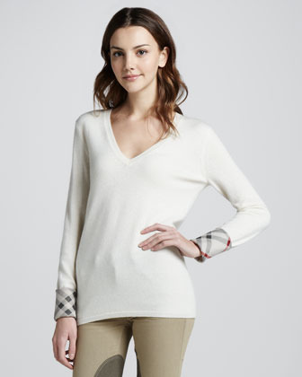 Burberry Check-Cuff Cashmere Sweater, Natural White