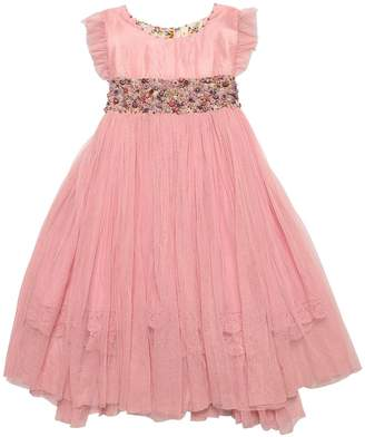 Silk Satin & Stretch Tulle Long Dress