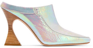 Dena Sies Marjan Iridescent Crinkled-leather Mules - Silver