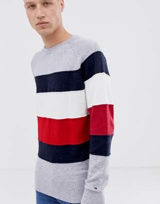 Tommy Hilfiger Icon color block stripe crewneck sweater in gray marl