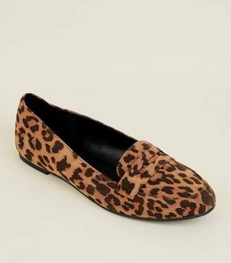 New Look Stone Leopard Print Penny Loafers