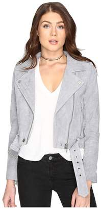 Blank NYC Grey Suede Moto Jacket in Cloud Grey Women's Coat