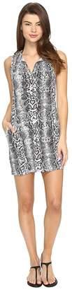 Tommy Bahama Snake Charmer Split-Neck Spa Dress Cover-Up Women's Swimwear