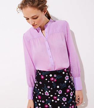 LOFT Shirred Puff Sleeve Blouse