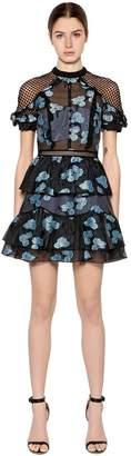 Self-Portrait Floral Fil Coupe Open Back Mini Dress