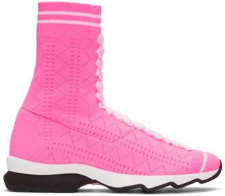 ribbed high-top sneakers - Pink & Purple Fendi u13Kuq
