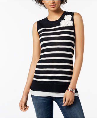 Tommy Hilfiger Mixed-Media Embellished Top, Created for Macy's