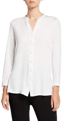 Eileen Fisher Button-Front Tunic Shirt with Mandarin Collar