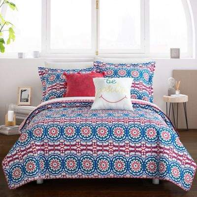 Chic Home Maiya 9-Piece Reversible Full Quilt Set in Fuchsia