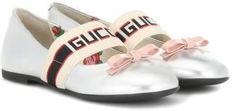 Gucci Kids Metallic leather ballet flats