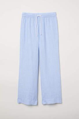 H&M Linen Pajama Pants - Light blue/white striped - Women