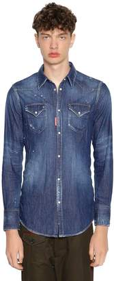 DSQUARED2 Bleached Cotton Denim Western Shirt