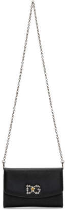 Dolce & Gabbana Black Crystal Logo Wallet Chain Bag