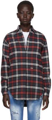 DSQUARED2 Grey and Red Flannel Saddle Shoulder Shirt