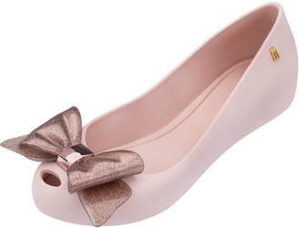 Mini Melissa Ultragirl Glittered-Bow Ballet Flat, Youth