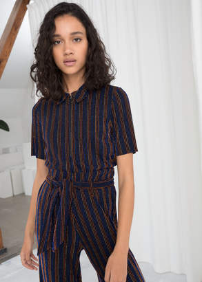 And other stories Glitter Stripe Polo Top