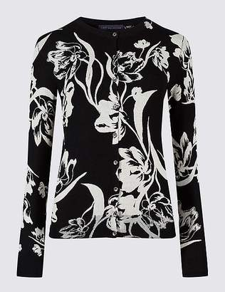 Marks and Spencer Floral Print Round Neck Cardigan