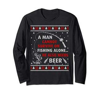 Fishing Ugly Christmas Sweater Fishing Unisex Long Sleeve