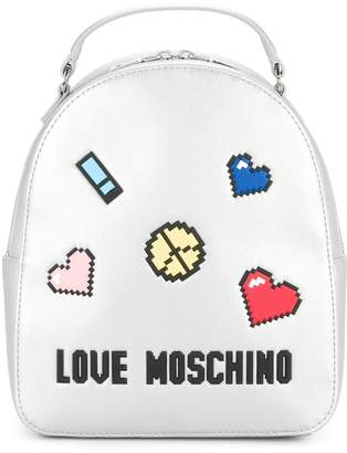 Love Moschino patch-appliqué metallic backpack