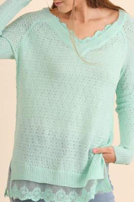 Umgee USA Adorable Mint Sweater