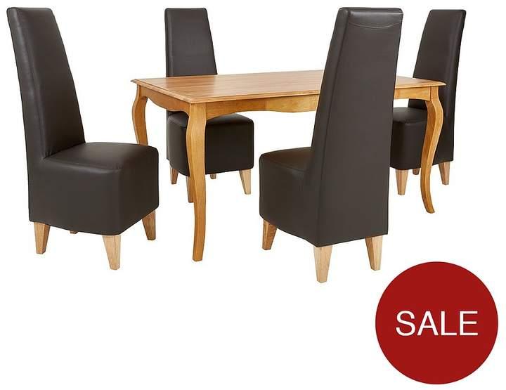 Alisha 150 Cm Solid Wood Dining Table + 4 Manhattan Chairs