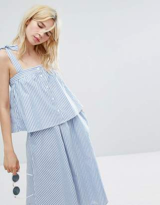 Monki Striped Tie Shoulder Smock Top