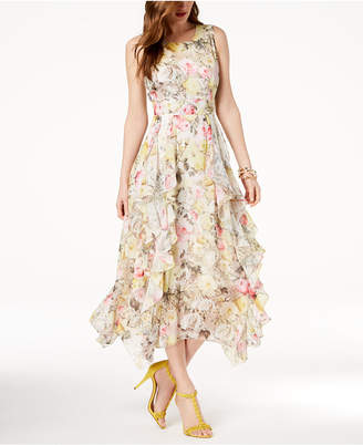INC International Concepts I.N.C. Ruffled Lace-Trim Maxi Dress, Created for Macy's