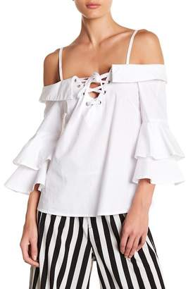 Flying Tomato Cold Shoulder Bell Sleeve Top