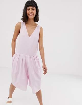 Asos Design DESIGN linen drop waist short culotte jumpsuit