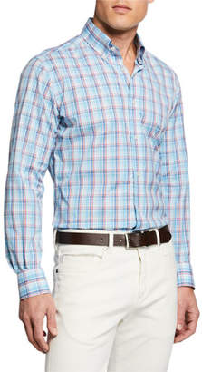 Mediterranea Men's Two-Tone Plaid Sport Shirt