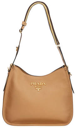 Prada Daino Calf Leather Hobo Bag with Crossbody Strap