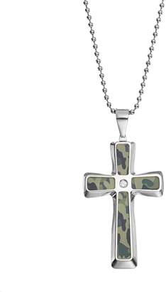 Kohl's Diamond Accent Stainless Steel Camouflage Cross Pendant Necklace - Men