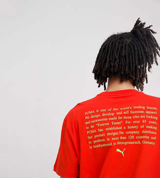 Puma T-Shirt With Back Print In Red Exclusive To Asos