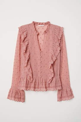 H&M V-neck Buttoned Blouse - Pink