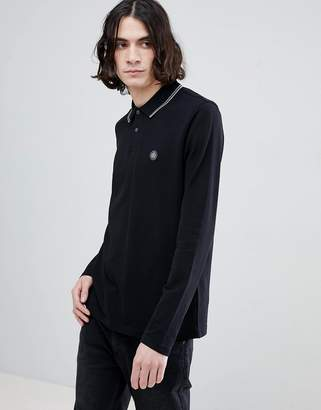 Pretty Green Long Sleeve Pique Tipped Polo Shirt In Black