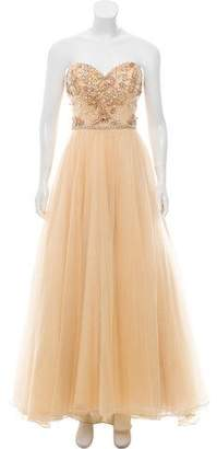 Terani Couture Strapless Embellished Evening Dress