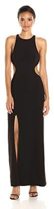 Halston Women's Sleeveless Round Neck Color Blocked Gown with Back Cut Out