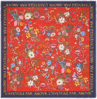 Gucci Flora Snake print wool silk shawl