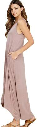 Wicky LS Women's Long Sleeve Cotton Maxi s Solid Color Dress L