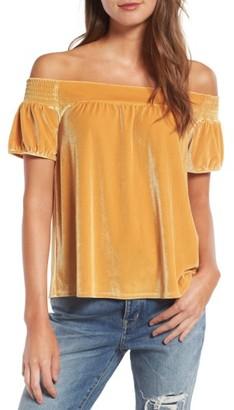 Women's Hinge Off The Shoulder Velvet Top $69 thestylecure.com