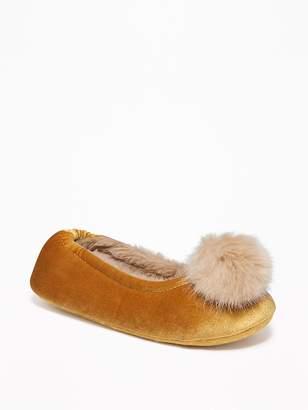 Old Navy Velvet Faux-Fur Pom-Pom Slippers for Women