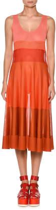 Agnona Viscose Knit Ombre Colorblocked Flared Tank Dress